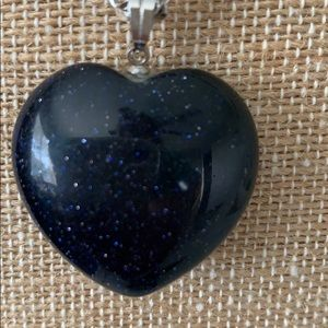 Jewelry - Black heart and silver chain necklace.